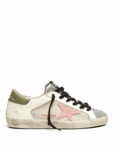 Golden Goose - Super Star Contrast Panel Leather Trainers - Womens - White Multi