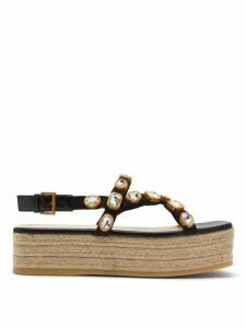 Gucci - Pepita Crystal Embellished Espadrille Sandals - Womens - Black