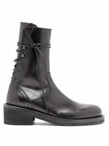 Ann Demeulemeester - Lace Up Back Leather Ankle Boots - Womens - Black
