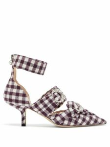 Midnight 00 - Crystal Embellished Checked Pumps - Womens - Burgundy White