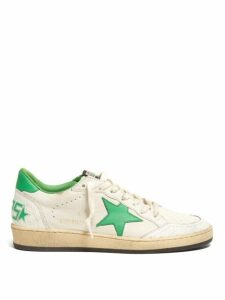 Golden Goose - Ball Star Cracked-leather Trainers - Womens - Green White