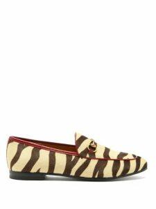 Gucci - Jordaan Tiger Print Leather Loafers - Womens - Black Beige