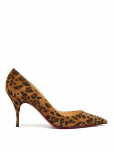 Christian Louboutin - Clare 80 Leopard Print Suede Pumps - Womens - Leopard