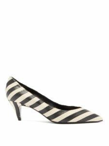 Saint Laurent - Charlotte Striped Elaphe Pumps - Womens - Black Stripe