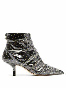 Midnight 00 - Antoinette Polka Dot Tulle & Pvc Ankle Boots - Womens - Black Gold