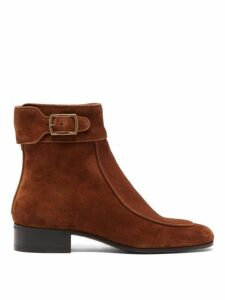 Saint Laurent - Miles Buckled Suede Boots - Womens - Tan