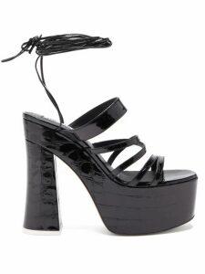 The Attico - Greta Crocodile Embossed Leather Platform Sandals - Womens - Black