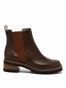 See By Chloé - Scallop Edged Leather Chelsea Boots - Womens - Dark Brown