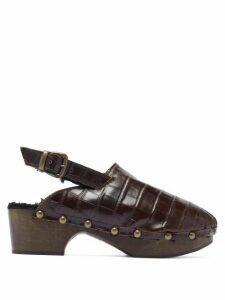 Avec Modération - Ruka Crocodile Effect Leather Slingback Clogs - Womens - Dark Brown