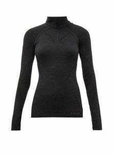 Falke - High Neck Half Zip Wool Blend Top - Womens - Black