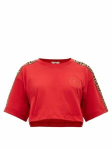 Fendi - Logo-trimmed Cropped Cotton T-shirt - Womens - Red