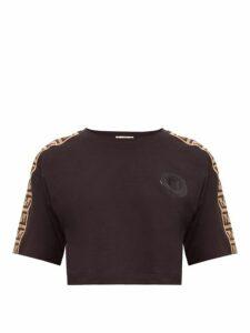 Fendi - Logo-trimmed Cropped Cotton T-shirt - Womens - Black