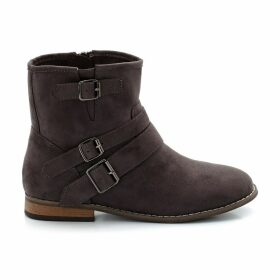 Wide Fit Heeled Boots with Buckle Detail