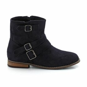 Wide Fit Faux Suede Boots with Buckle Detail