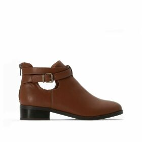 Open Ankle Chelsea Boots with Buckle