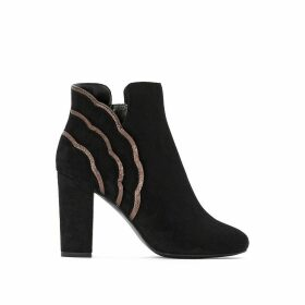 High-Heeled Faux Suede Ankle Boots with Wavy Trim