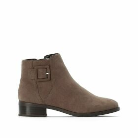 Faux Suede Buckled Ankle Boots with Zip Deatil