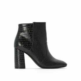 Mock Croc/Lizardskin Ankle Boots with High Heel