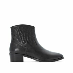 Embroidered Leather Cowboy Boots with Block Heel