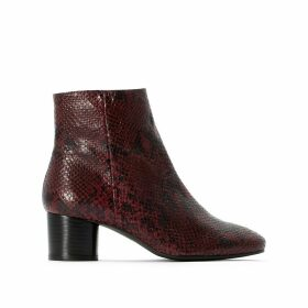 Faux Snakeskin Leather Ankle Boots with Block Heel
