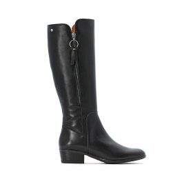 Daroca Leather Knee-High Riding Boots with Block Heel
