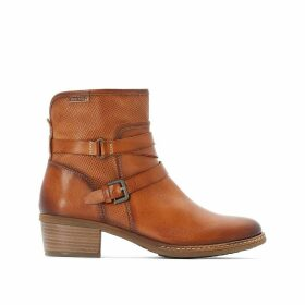 Zaragoza Leather Western Ankle Boots with Block Heel and Buckles