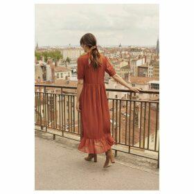 Button Through Midi Dress with Ruffles