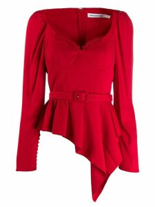 Self-Portrait asymmetric-peplum corset-style top - Red