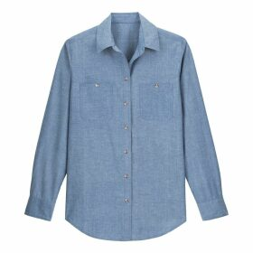 Cotton Long-Sleeved Shirt with Satin Sheen