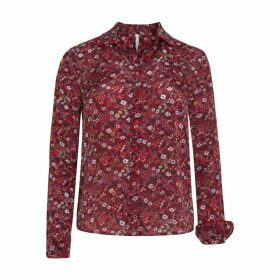 Floral Shirt with High Neck and Long Sleeves