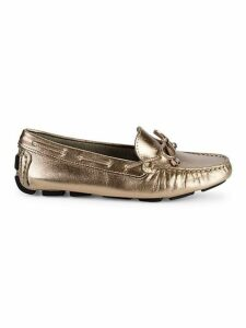 Metallic Leather Driver Loafers