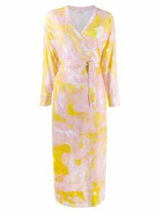 Malaika Raiss marble print wrap dress - Pink