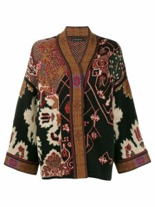Etro embroidered draped cardigan - Black