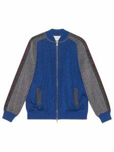 Gucci glitter-effect wool bomber jacket - Blue