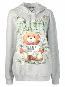 Moschino teddy bear print hooded sweater - Grey