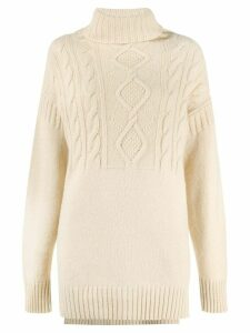 Pringle of Scotland cable stitch roll neck jumper - NEUTRALS