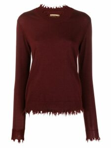 Uma Wang raw edge cashmere sweater - Red