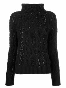 Ermanno Scervino cable knit turtleneck jumper - Black