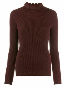 Pringle of Scotland frill roll neck jumper - Red