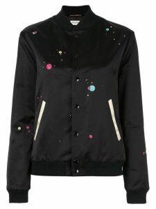 Saint Laurent logo printed varsity jacket - Black