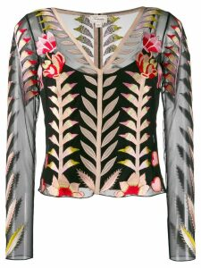 Temperley London sheer embroidered top - Black