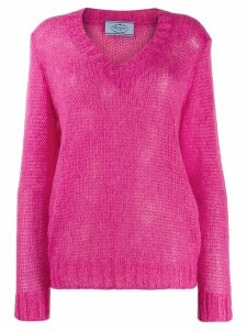 Prada open knit v-neck jumper - PINK