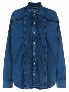 Y/Project oversized panelled denim shirt - Blue