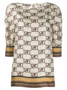 Alberta Ferretti flared style blouse - Brown