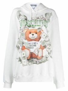 Moschino Teddy logo dollar hoodie - White