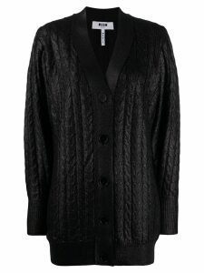 MSGM cable-knit metallic cardigan - Black
