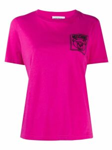 Moschino teddy bear embroidered logo T-shirt - PINK