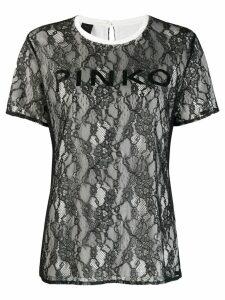 Pinko floral lace T-shirt - Black