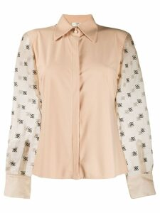 Fendi sheer-sleeve blouse - NEUTRALS