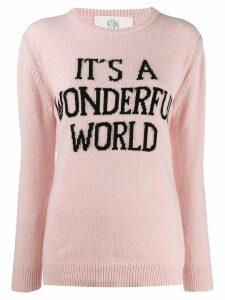 Alberta Ferretti slogan knit sweater - PINK